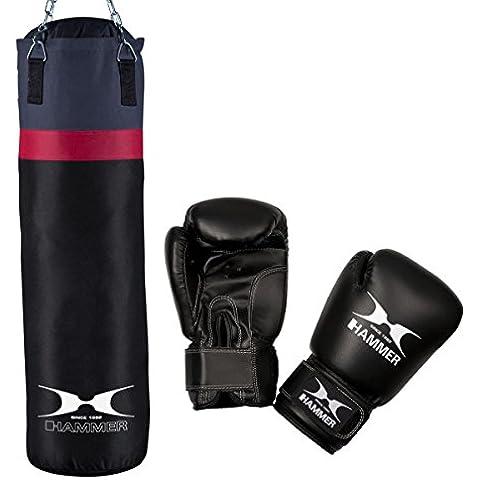 Hammer Home-Set Cobra - Conjunto de saco de boxeo y guantes (28 x 100 cm), color negro