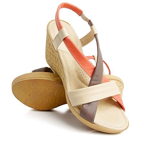 Batz California Ladies Sandali Estivi Di Alta Qualità, Sandali, Scarpe In Pelle, Scarpe Beige Mix