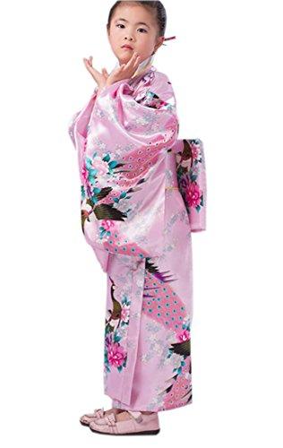 umen&Pfau Kimono mit Obi-Gürtel Cosplay Yukata Japanisch (Höhe:140-150cm, Rosa) (Chinesische Kostüme Kinder)