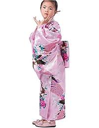 YL Niñas Patrón Floral Dibujo de Pavo Real Quimono Impreso Kimono Japonés Rosa