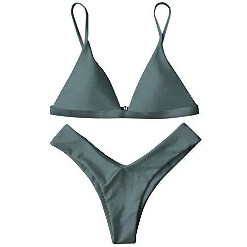 ZAFUL Damen Sport Push-Up Wickeln Bikini Sets Bademode Badeanzug Swimwear Swimsuit Grün S