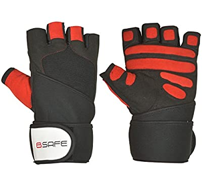 BSAFE Leather Weight lifting Gloves Gym Neoprene Wrist Wraps Support Straps Wheelchair Cycling