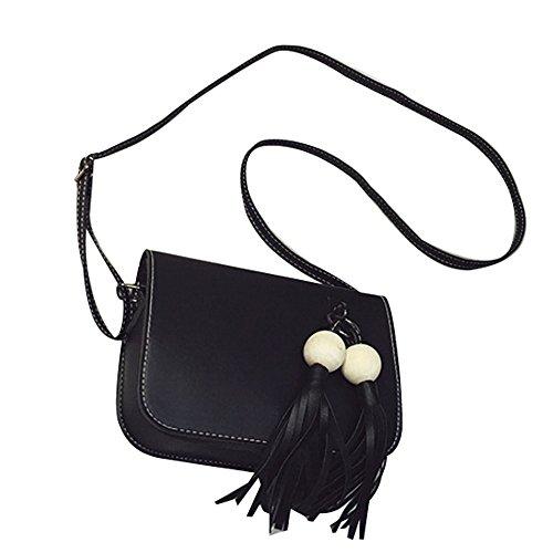 Longra Cuoio di modo delle donne di sacchetto nappe borsa Croce corpo spalla Nero