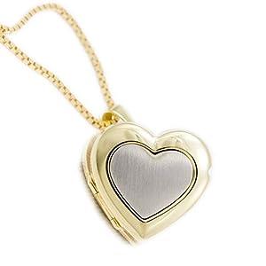 ASS 333 Gold Medaillon Herz Anhänger Foto teilmattiert, Bicolor