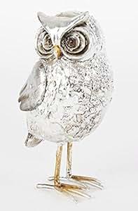 Statuette Hibou couleur argent - 13,5 cm