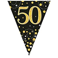 Hi Fashionz Black Gold Sparkling Fizz Birthday Party Holographic Bunting 11 Flags 3.9m 50th Ages