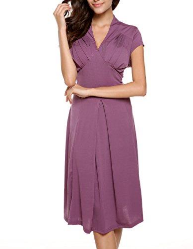 ZEARO Damen Kleider Partykleid VAusschnitt Rockabilly Abendkleid ...