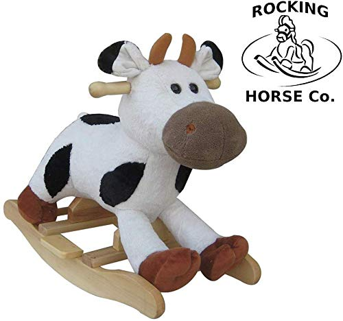 The Rocking Horse Co Nuevo Peluche Balancín Vaca - Black&White Vaca Completo con Sonidos 15m+