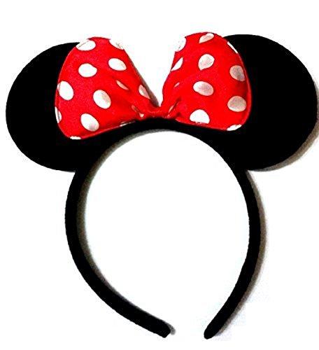 Dalbags- 10Haarreife mit Ohren und roter Schleife mit weißen Punkten als Accessoire für Minnie Mouse-Kostüme für Damen und Mädchen