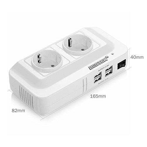 BESTEK 200W Inverter da Auto 12V-230V con 4 Porte Smart USB (4.2A Total) e 2 EU, Convertitore Tensione per Camper/Barca a Onda Sinusoidale Modificata con Multi Protezioni e Soft Start, Accendisigari