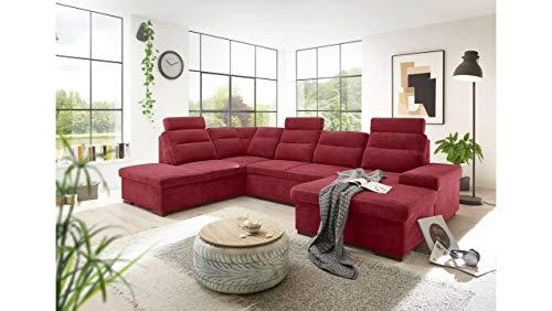 JUSTyou Plano Wohnlandschaft Polsterecke Couchgarnitur (HxBxL): 86x219x324 cm Links Rot