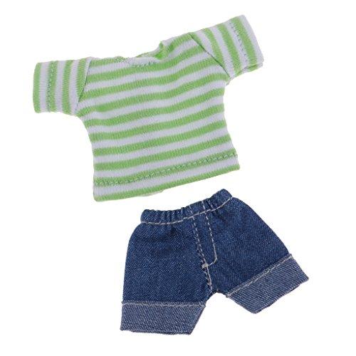 Baoblaze Hübsche Puppe Gestreifte T-Shirt & Jeans Hose Bekleidung Für 1/12 BJD Modepuppe Zubehör - Grün -