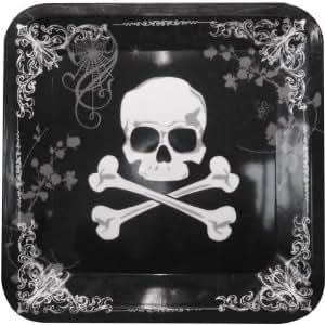 Plateau tête de mort - plat gothique - décoration Halloween.