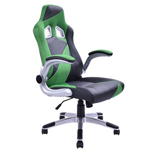 Racing Chefsessel Sportsitz Bürosessel Bürostuhl Drehstuhl Schreibtischstuhl fünf Farben (grün)