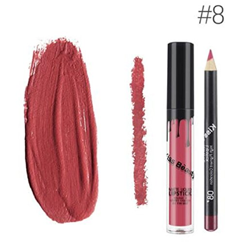 Kiss Beauty Matte Liquid Lipgloss and Lip Liner (Shade 8, 7652-8)