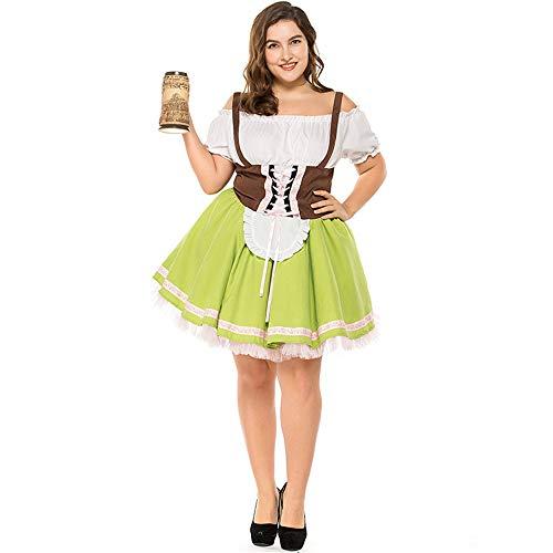 HR Damen Oktoberfest Bayrisches Bier Festival Wench Plus Größe Deutsch Maid Fancy Dress Kostüm (Farbe : SCHWARZ, größe : XXL) (Damen Plus Größe Fancy Dress Kostüm)