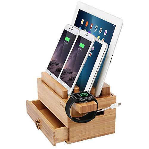 iCozzier Mini Bamboo Ständer mit Schublade, Ladestation für mehrere Geräte und Kabel-Organizer-Dock für Apple Watch, iPhone, iPad, Smartphones und Tablets -