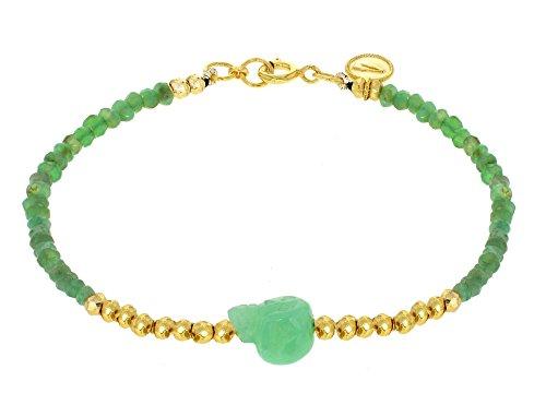 Jade Jagger Bracciale da Donna Placcato Oro Crisoprasio Verde Rotondo - Emerald Jade Bracciale