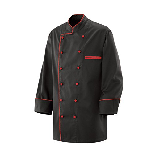 Kochjacke Bäckerjacke Jacke Langarm Schwarz mit rotem Paspel Gr. 3XL 35% Baumwolle, 65% Polyester 220gr. (100% Koch-mantel Baumwolle)