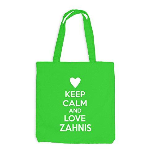 Jutebeutel - Keep Calm And Love Zahnis - Zahnarzt Design Heart Hellgrün
