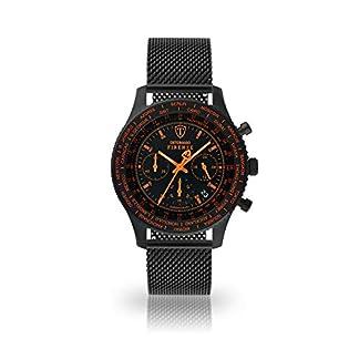 DETOMASO Firenze Reloj Caballero Cronógrafo Analógico Cuarzo Negro Correa Milanesa Esfera Naranja SL1624C-BO-847