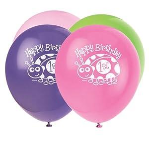 Unique Party- Globos de Látex Fiesta de Primer Cumpleaños de Mariquita, 8 Unidades, Color rosa, 30 cm (40405)