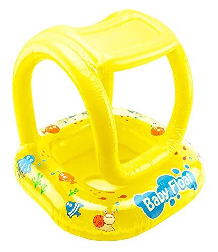 Excellentas Kinder Gummiboot Schwimmring Schwimmhilfe Schlauchboot Kinderboot Babysitz mit Dach für Baby und Kleinkind Schwimmbad in gelb