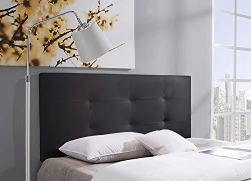Cabecero/Cabezal tapizado Carla 150X115 Negro, Acolchado con Espuma, 8 cm de Grosor, Incluye herrajes para Colgar