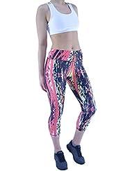 Mujer Active Fitness Running Ejercicio Gimnasia Yoga Estampado 3/4 Leggins Capri Deporte