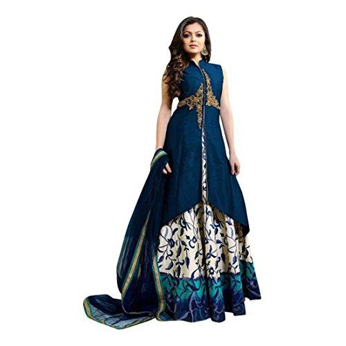 Fashion Embroidered, Digital Print, Floral Print Semi Stitched Lehenga, Choli and Dupatta Set (Blue) Dupatta Set