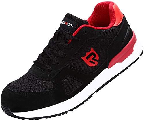 LARNMERN Sicherheitsschuhe Herren, ESD SRC rutschfeste Schuhe Arbeitsschuhe mit Stahlkappe Sportlich Schutzschuhe (48 EU Rot)