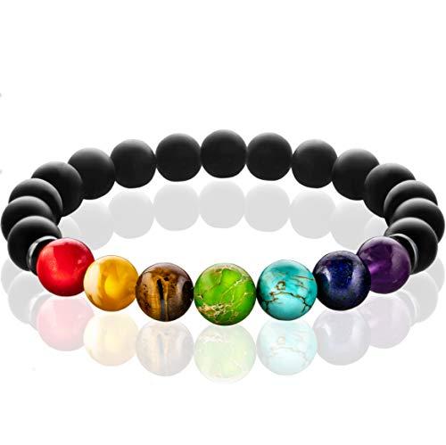 FABACH 7 Chakra Perlenarmband mit 8mm Perlen Aller Sieben Chakren und Onyx-Naturstein (schwarz) - Yoga Armband aus Heilsteinen - Energiearmband für Damen und Herren
