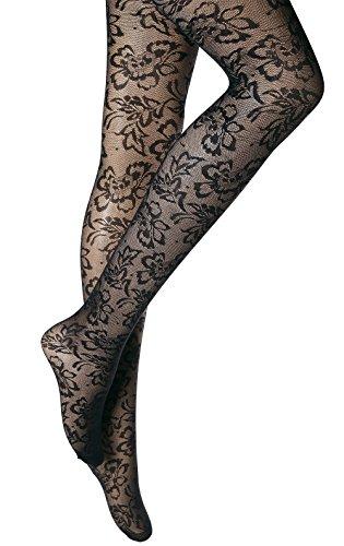 1 Pair New Womens Ladies black floral pattern tights hosiery 40 Denier Plus size XXL 20-22 R 9