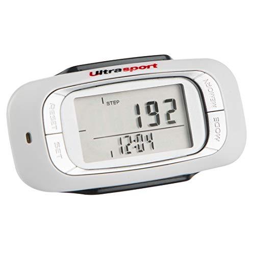Ultrasport 3D Schrittzähler, genauer Fitnesstracker mit LED-Monitor mit Schrittanzeige, Entfernung, Aktivitätszeit & Kalorienverbrauch, inkl. Befestigungsclip, Halteband & Batterie, 75 x 39 x 24 cm