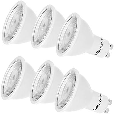 Lightone Bombilla LED 5W GU10, Equivalente a 50W bombillas halógenas, Foco de ángulo de haz de 50°, Paquete de 6 Unidades