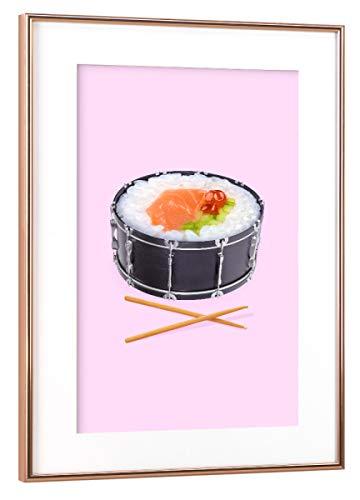 artboxONE Poster mit Rahmen Kupfer 60x40 cm Sushi Drum von Paul Fuentes Design - gerahmtes Poster