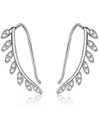029f16e1c Sterling Silver Leaf Earrings and Snowflake Earrings for Women Girls,Cubic  Zirconia…