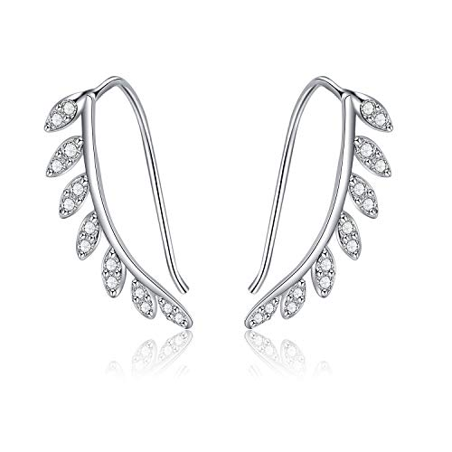 Angel caller Leaf Earring Sterling Silver Ear Cuff Climber Crawler Cubic Zirconia Earrings for Women Teens Girls peirced (style 1)