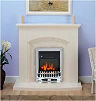 Kirkdale Modern Cream Chrome Electric Fire Surround and Hearth Set Fireplace Suite