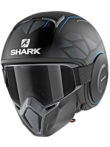 Shark Casco Jet Drak Street Hurok negro antracita azul KBK talla M