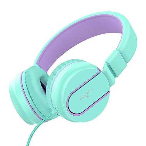 Ailihen I35 Auriculares de Diadema Cerrados con Cable, Auriculares Plegable con Micrófono y Control Remoto para Mp3, iPhone, Móvil Android, PC, Color Menta y Púrpura