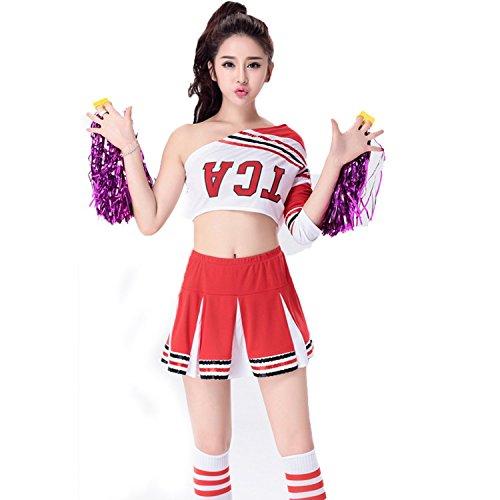 Babyicon Damen Cheerleader Fußball Kostüme Uniform Sport Verrücktes Kleid (S, (Rot Glee Trainingsanzug)
