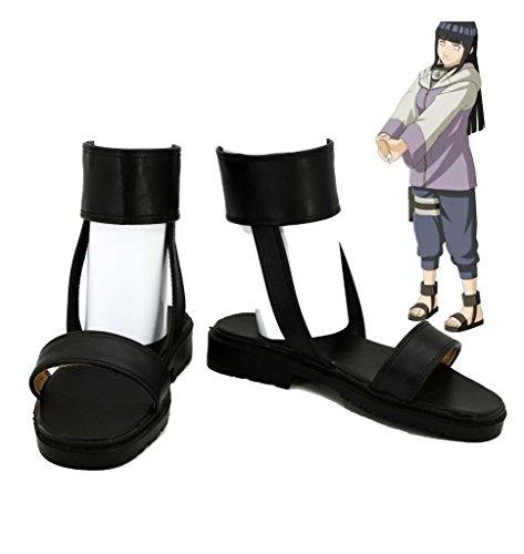 Fuman Naruto Hyuga Hinata cosplay Schuhe Boots Damen Schwarz 39 Schwarz