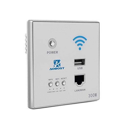 aobost Schalter Wandfigur Router WiFi 300Mbps 5V 1,5A Multifunktions Mini Wireless WiFi Range Extender-Verstärker Signal Booster Repeater Netzwerk/Router/AP mit WPS silber silber