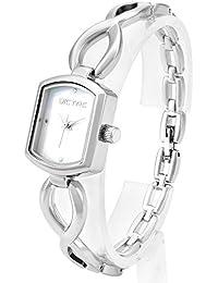 Dictac Reloj de Pulsera Mujer de Cuarzo Analógica Plata con Perla Dial (argénteo)