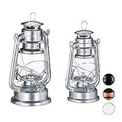 Relaxdays Petroleumlampe 2er Set, echte Öllampe als Fensterdeko oder Gartenlaterne, mit Henkel, 24 und 28 cm, Silber