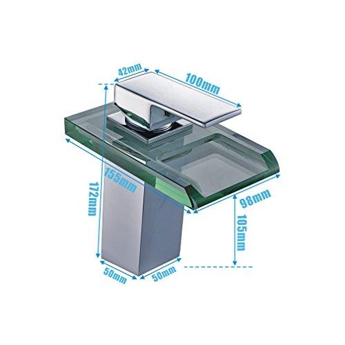 Auralum® Elegant LED RGB Glass Mischbatterie Armatur Wasserhahn Chrom Wasserfall Waschtisch Waschtischarmatur für Bad Badezimmer Küchen -