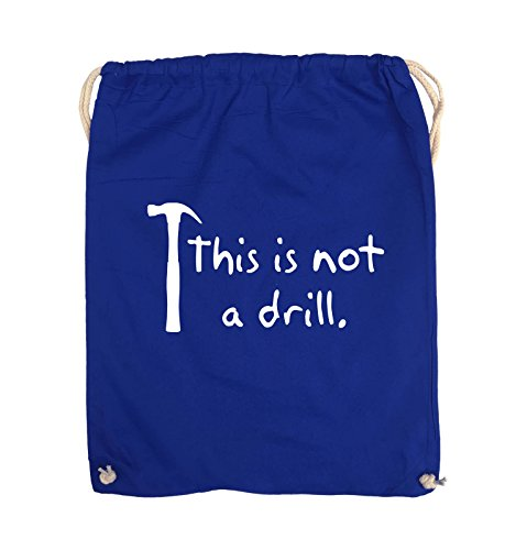 Comedy Bags - This is not a drill - HAMMER - Turnbeutel - 37x46cm - Farbe: Schwarz / Pink Royalblau / Weiss