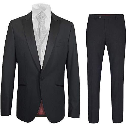 Paul Malone - Hochzeitsanzug Herren Set 6tlg schwarz Slim FIT inkl. Hochzeitsweste weiß barock 64