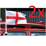 BARGAINS-GALORE SET OF 2 ENGLAND CAR FLAG WINDOW ST GEORGES CROSS FOOTBALL VAN WORLD CUP 2018
